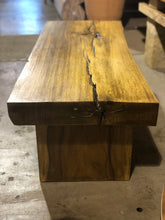 Load image into Gallery viewer, Live Edge Bench or Coffee Table with Modern Metal Base | Natural Wooden Slab and Base