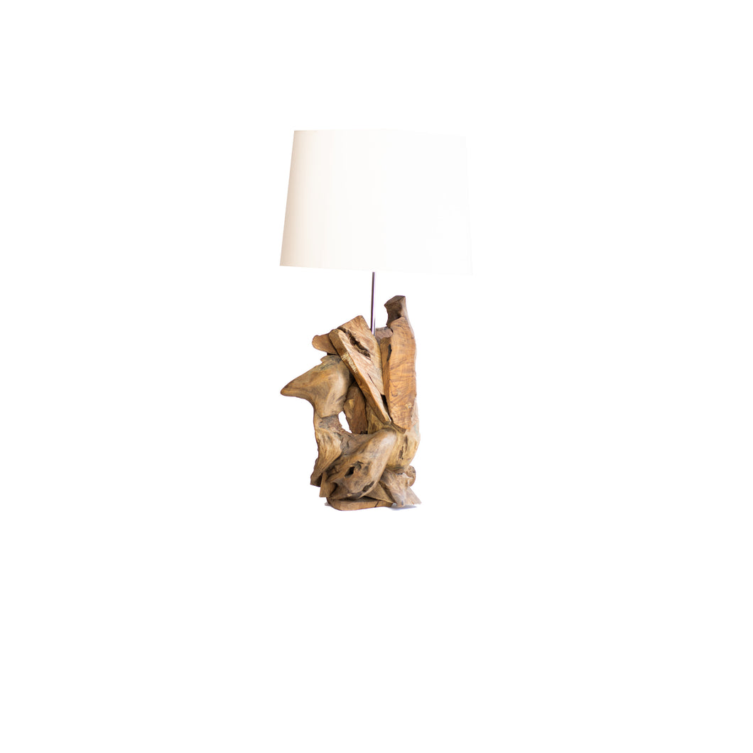 Modern Table Lamp | Teak Wood Base and White Shade 1