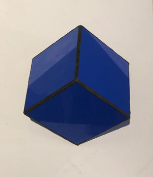Stained  Solid purple blue glass 3D geometric cube wall or table top decoration Sculpture Tiffany technique - Large, Platonic Solid
