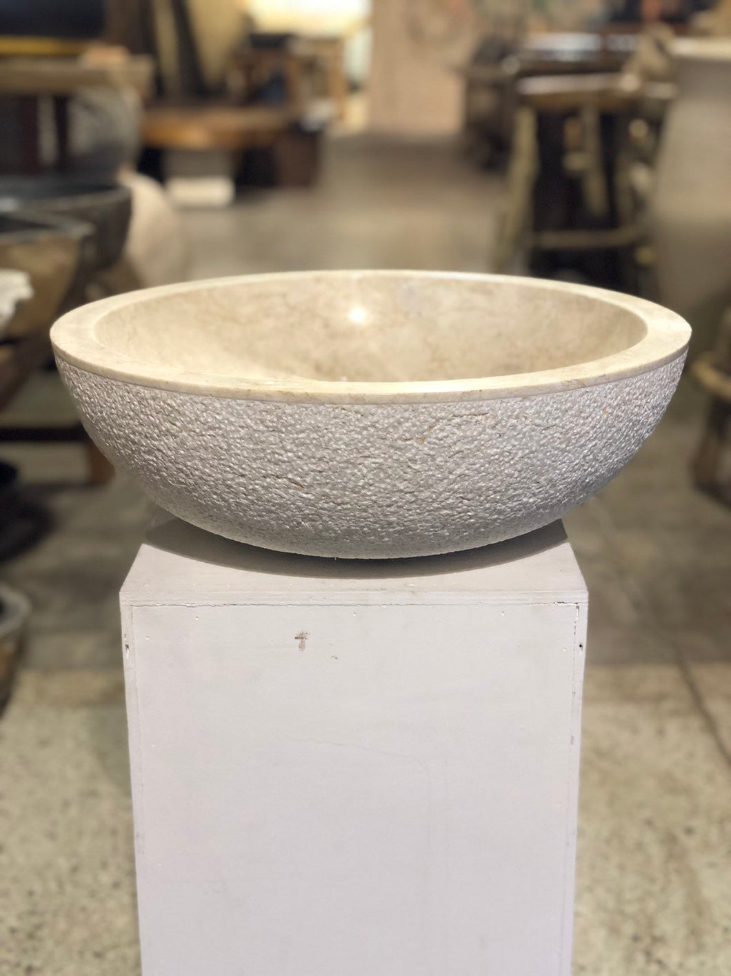 Natural Marble Vessel Sink | Hammer Finish Cream Color
