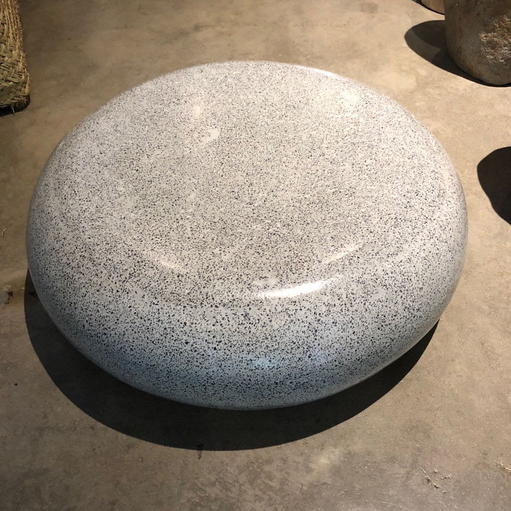 Tx Only Gray Terrazzo Round Indoor Outdoor Coffee Table Low