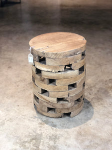 Teak Root Night Stand, Side Table , Modern Wood Block Stool