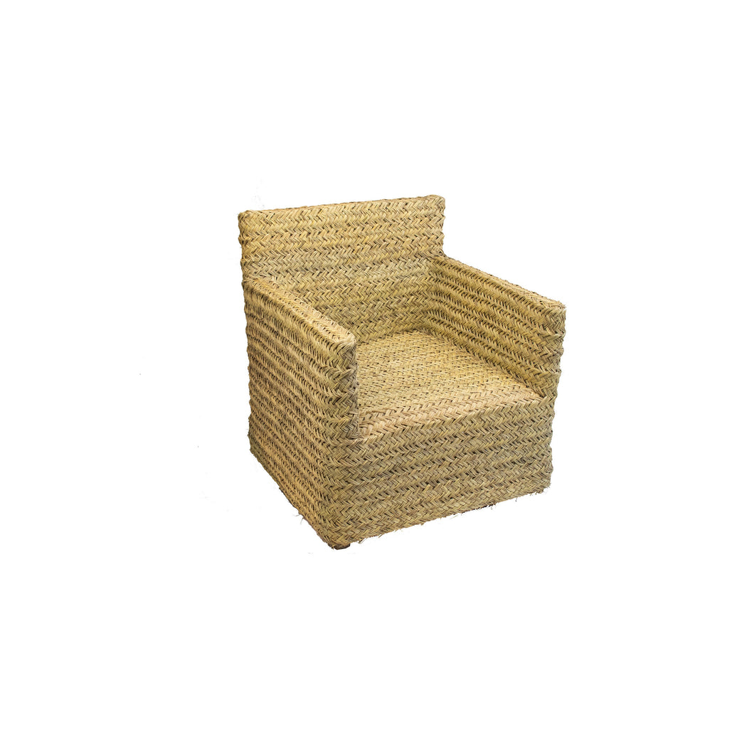 Handwoven African Palm Chair | Wicker Lounge Chair Set (2 Chairs)