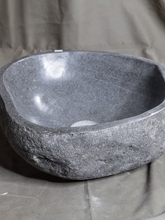 Natural Stone Oval Vessel Sink | River Stone Gray Wash Bowl #22 size is 15.5