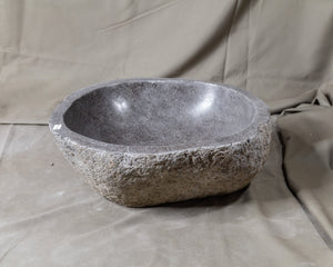 "Natural Stone Oval Vessel Sink | River Stone Gray Wash Bowl #26 size is 15"" W x 13.5"" D x 6.5"" H"