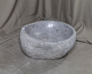 "Natural Stone Oval Vessel Sink | River Stone Gray Wash Bowl #34 size is 15"" W x 13.5"" D x 5.75"" H"