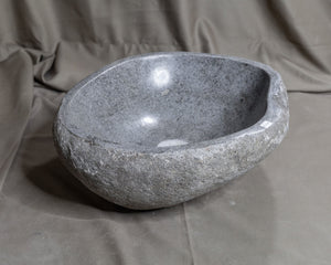 "Natural Stone Oval Vessel Sink | River Stone Gray Wash Bowl #43 size 15.5"" W x 13.5"" D x 5.75"" H"