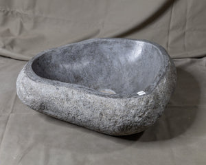Natural Stone Oval Vessel Sink | River Stone Gray Wash Bowl #47 (COMING IN THE END OF AUGUST)