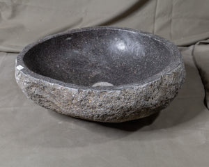 "Natural Stone Oval Vessel Sink | River Stone Gray Wash Bowl #50 size is 16"" W x 14.5"" D x 5.5"" H"