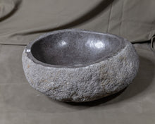 "Load image into Gallery viewer, Natural Stone Oval Vessel Sink | River Stone Gray Wash Bowl #54 size is 17"" W x 14"" D x 5.75"" H"