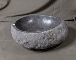 "Natural Stone Oval Vessel Sink | River Stone Gray Wash Bowl #54 size is 17"" W x 14"" D x 5.75"" H"