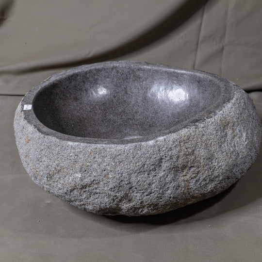 Natural Stone Oval Vessel Sink | River Stone Gray Wash Bowl #54 size is 17