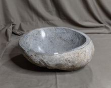 "Load image into Gallery viewer, Natural Stone Oval Vessel Sink | River Stone Gray Wash Bowl #55 size is 15"" W x 13.5"" D x 5.5"" H"