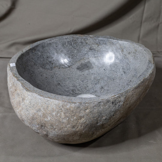 Natural Stone Oval Vessel Sink | River Stone Gray Wash Bowl #55 size is 15
