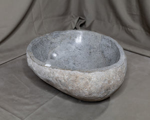 "Natural Stone Oval Vessel Sink | River Stone Gray Wash Bowl #55 size is 15"" W x 13.5"" D x 5.5"" H"