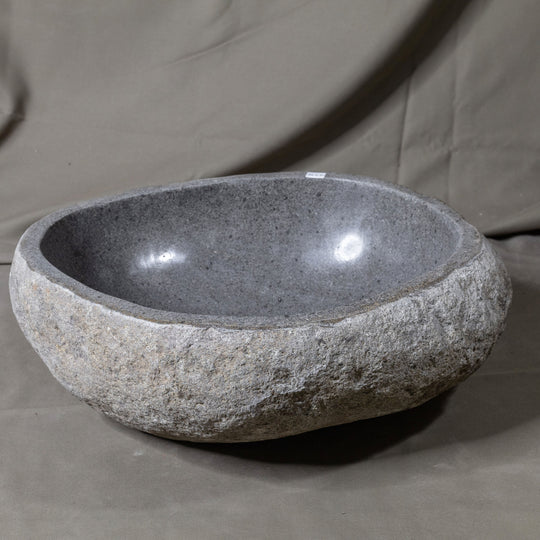 Natural Stone Oval Vessel Sink | River Stone Gray Wash Bowl #56 size is 16