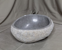 "Load image into Gallery viewer, Natural Stone Oval Vessel Sink | River Stone Gray Wash Bowl #56 size is 16"" W x 13"" D x 6"" H"