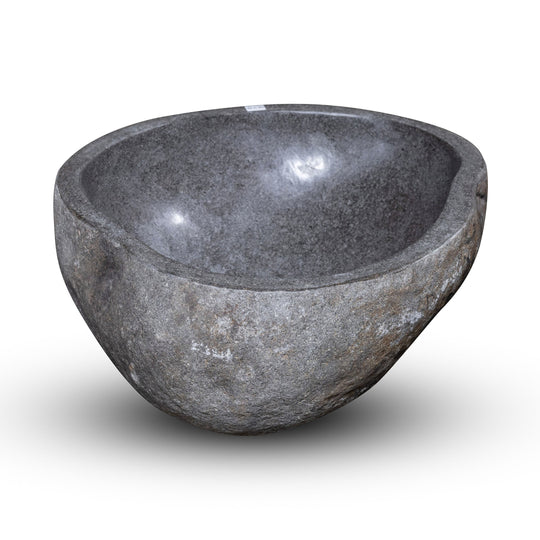 Natural Stone Oval Vessel Sink | River Stone Gray Wash Bowl #59 size is 15