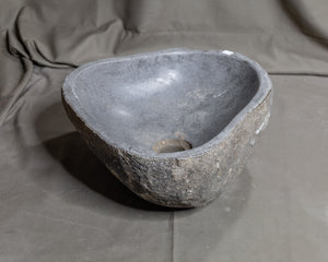 "Natural Stone Oval Vessel Sink | River Stone Gray Wash Bowl #64 size is 15.5"" W x 12.5"" D x 6"" H"