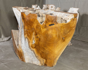 "Teak Wood Root Coffee Table with Glass Top 35.5""x35.5"", Modern Coffee Table #3"