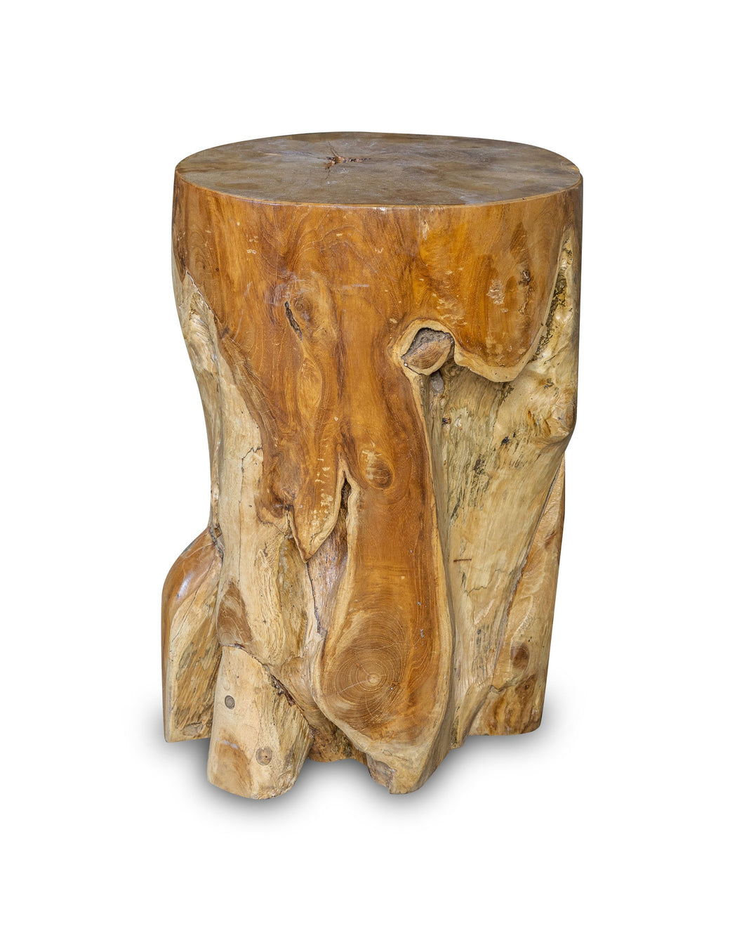 Solid Teak Wood Side Table, Natural Tree Stump Stool or End Table #13    17.5