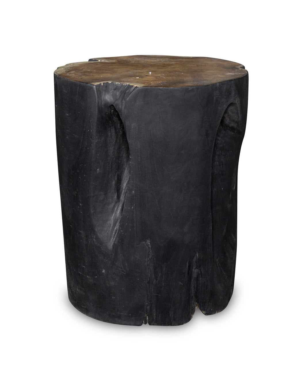 Solid Teak Wood Side Table, Natural Black Tree Stump Stool or End Table #14    17.75