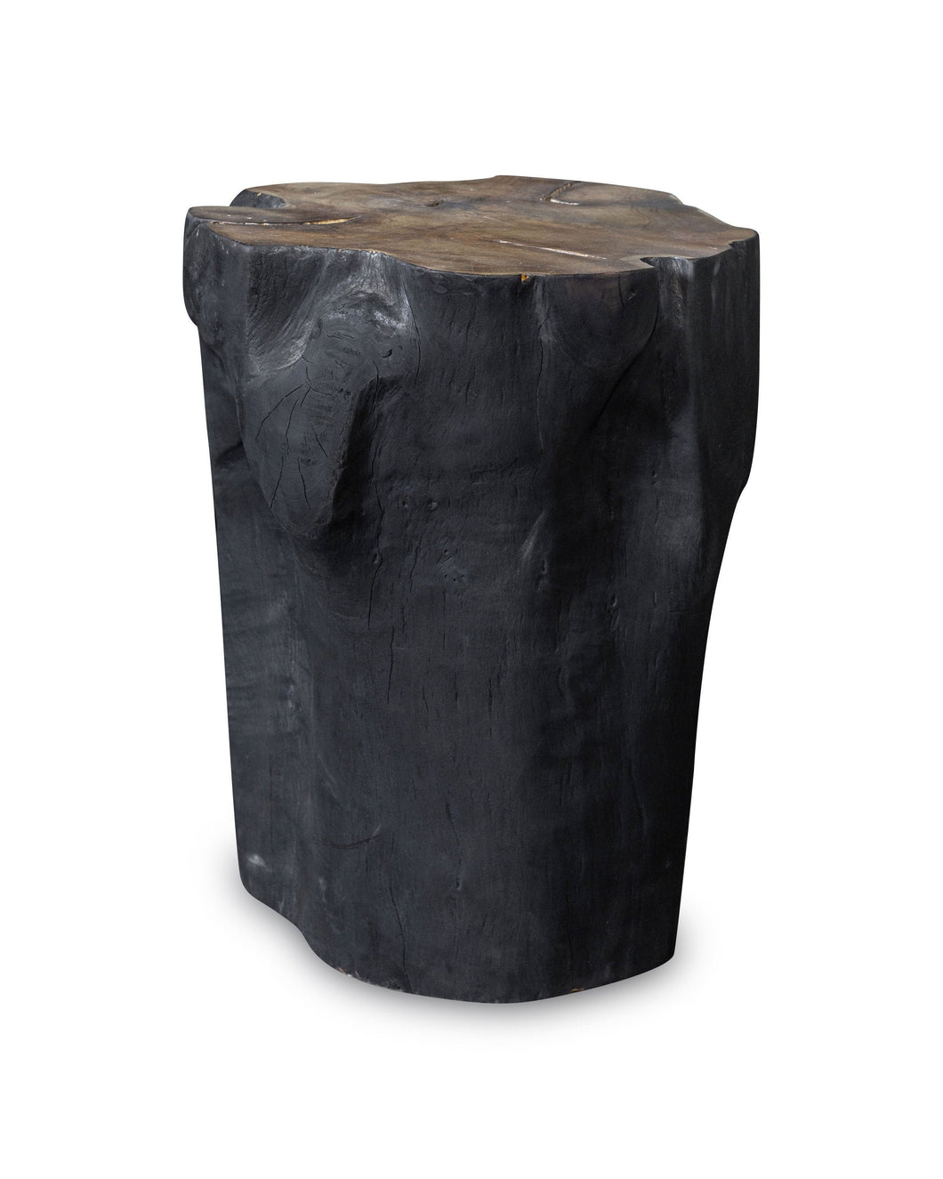 Solid Teak Wood Side Table, Natural Black Tree Stump Stool or End Table #19    18
