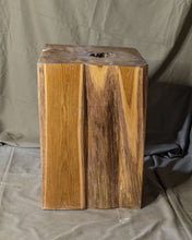 "Load image into Gallery viewer, Square Solid Teak Wood Side Table, Natural Tree Stump Stool or End Table #3   17.75"" H x 12"" W x 12"" D"