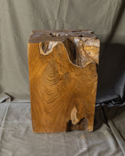 "Load image into Gallery viewer, Square Solid Teak Wood Side Table, Natural Tree Stump Stool or End Table #5    17.5"" H x 12.5"" W x 12.5"" D"