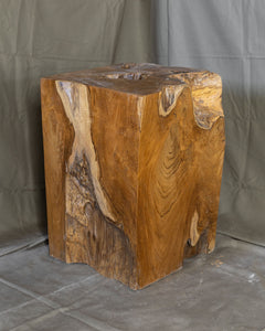 "Square Solid Teak Wood Side Table, Natural Tree Stump Stool or End Table #5    17.5"" H x 12.5"" W x 12.5"" D"