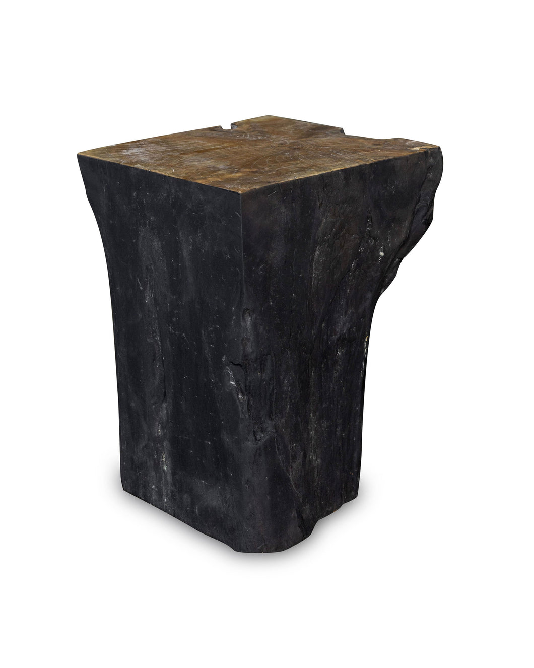 Square Solid Teak Wood Side Table, Natural Black Tree Stump Stool or End Table #8  16.25