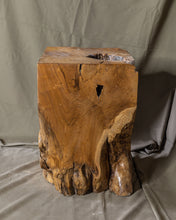"Load image into Gallery viewer, Square Solid Teak Wood Side Table, Natural Tree Stump Stool or End Table #13    18"" H x 13"" W x 12"" D"