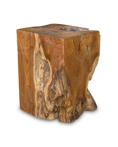 "Square Solid Teak Wood Side Table, Natural Tree Stump Stool or End Table #13    18"" H x 13"" W x 12"" D"