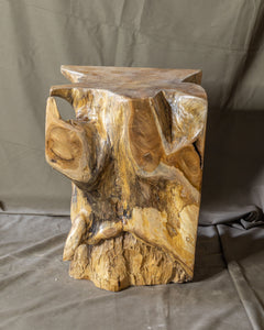 Square Solid Teak Wood Side Table, Natural Tree Stump Stool or End Table #15 (COMING IN THE END OF AUGUST)