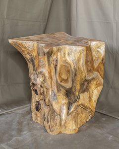 "Square Solid Teak Wood Side Table, Natural Tree Stump Stool or End Table #15 16"" H x 12.5"" W x 12.5"" D"