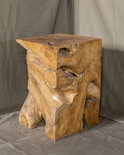 "Load image into Gallery viewer, Square Solid Teak Wood Side Table, Natural Tree Stump Stool or End Table #19    17.75"" H x 12"" W x 12"" D"
