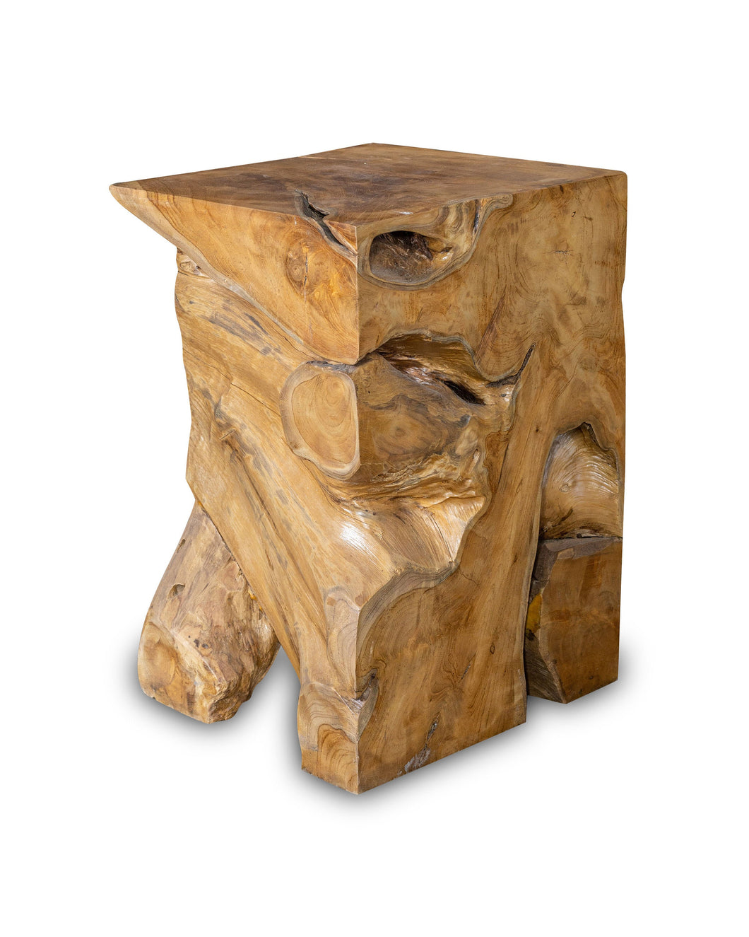 Square Solid Teak Wood Side Table, Natural Tree Stump Stool or End Table #19    17.75