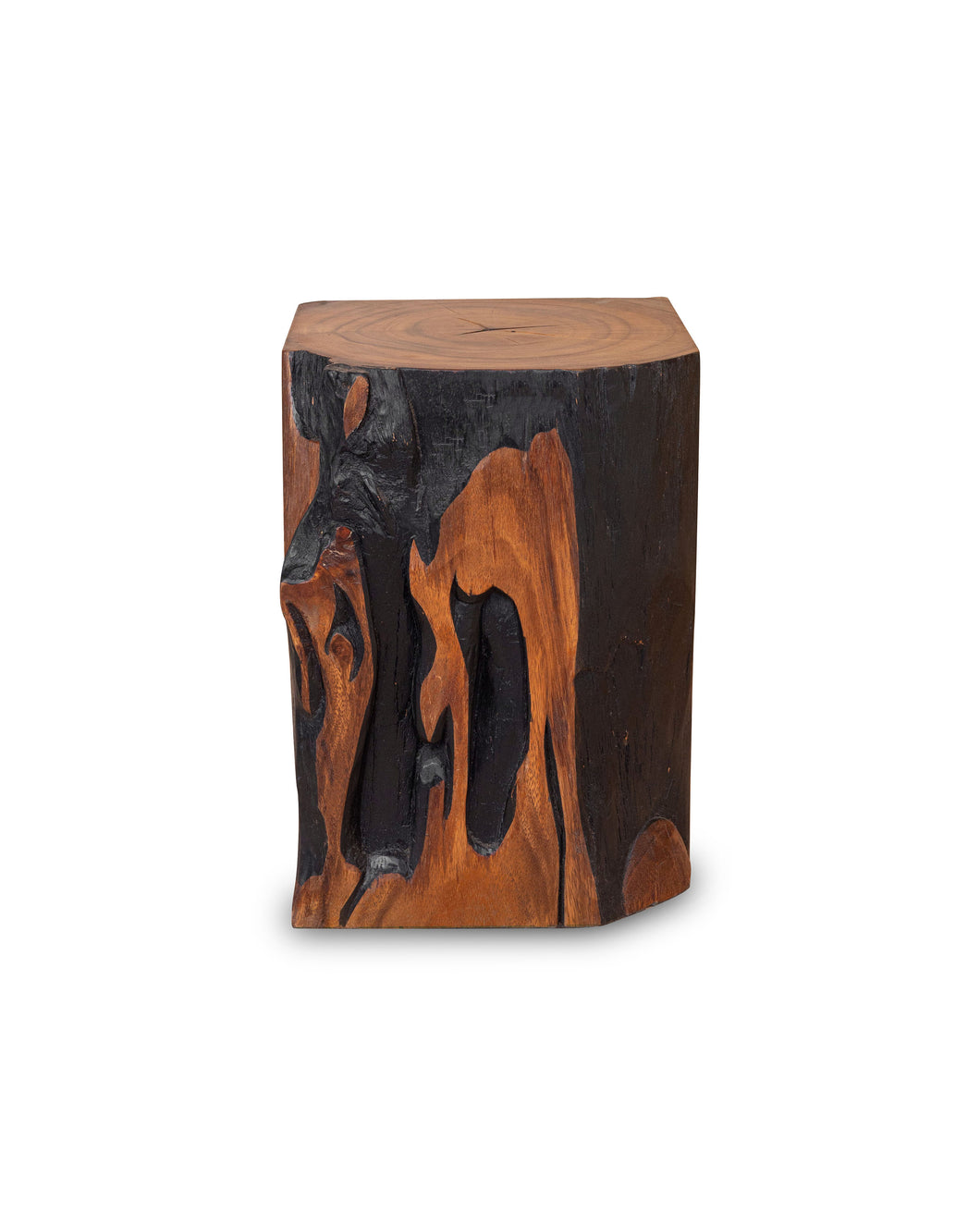Square Solid Acacia  Wood Side Table, Black and Brown Natural Tree Stump Stool or End Table #1 (COMING IN THE END OF AUGUST)