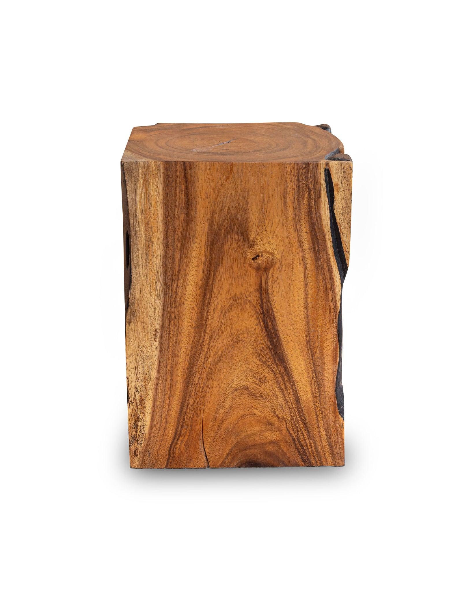 Picture of: Square Solid Acacia Wood Side Table Black And Brown Natural Tree Stum Arka Living