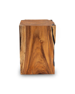 Square Solid Acacia  Wood Side Table, Black and Brown Natural Tree Stump Stool or End Table #3