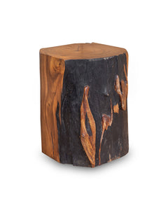 Square Solid Acacia  Wood Side Table, Black and Brown Natural Tree Stump Stool or End Table #6