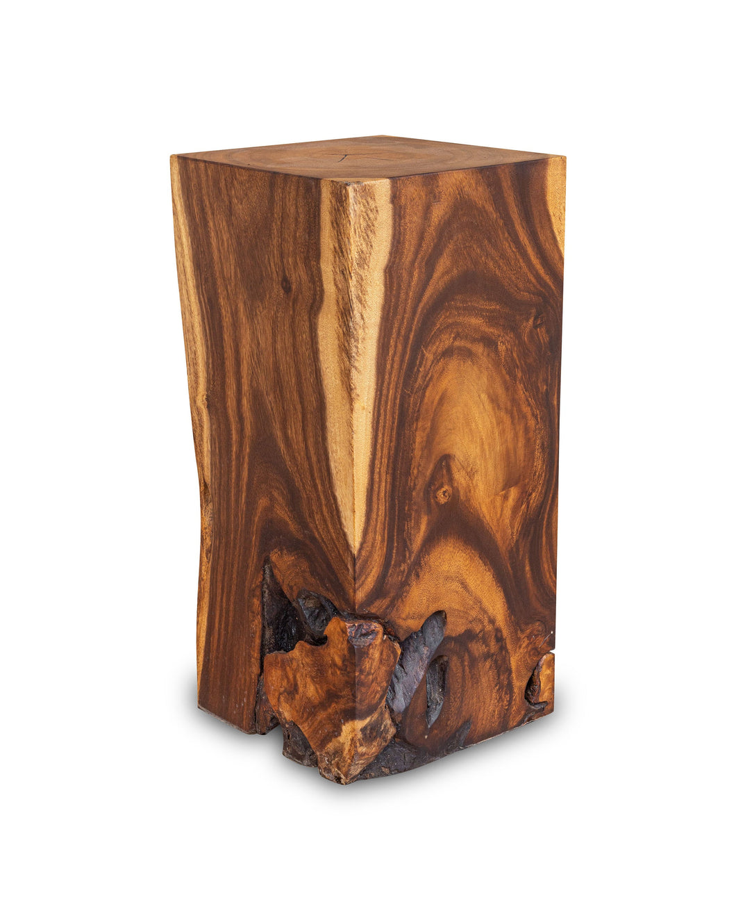 Square Solid Acacia Wood Side Table, Brown Natural Tree Stump Stool or End Table #B2