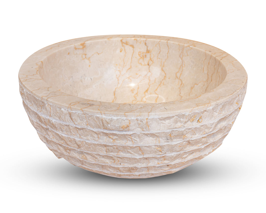 Small Natural Marble Vessel Sink | Hammer Finish Cream Color