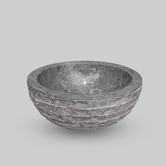 Small Natural Marble Vessel Sink | Hammer Finish Grey Color