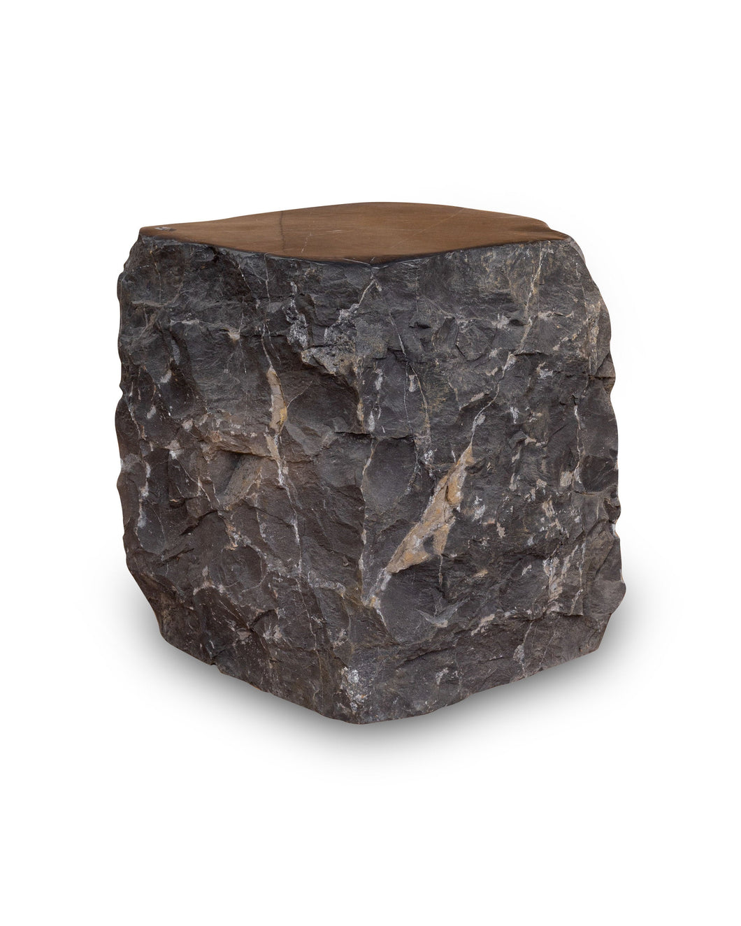 Natural Dark Marble Side Table, Hammer Hit Edges Solid Stool or End Table #2 (COMING IN THE END OF AUGUST)