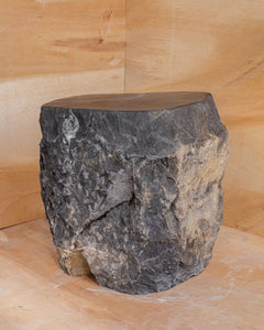 Natural Light Marble Side Table Block, Hammer Hit Edges Solid Stool or End Table #1
