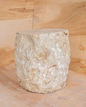 Load image into Gallery viewer, Natural Light Marble Side Table Block, Hammer Hit Edges Solid Stool or End Table #1