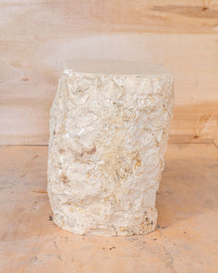 Natural Light Marble Side Table Block, Hammer Hit Edges Solid Stool or End Table #3