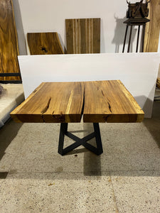 Modern Square Live Edge Dining Table, Wood and Metal Base