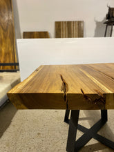 Load image into Gallery viewer, Modern Square Live Edge Dining Table, Wood and Metal Base